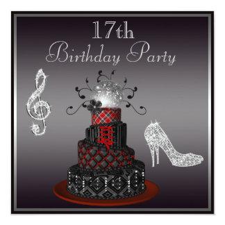 """Torta de la diva del disco, 17mo cumpleaños de los invitación 5.25"""" x 5.25"""""""