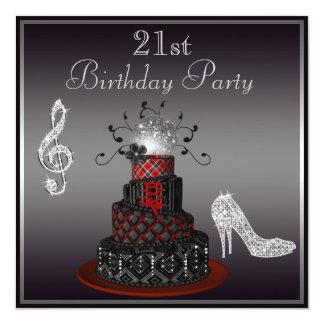 """Torta de la diva del disco, 21ro cumpleaños de los invitación 5.25"""" x 5.25"""""""