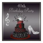 Torta de la diva del disco, 40.o cumpleaños de los invitación 13,3 cm x 13,3cm