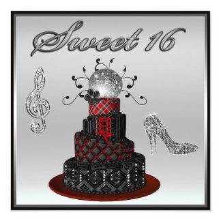 """Torta de la diva del disco del dulce 16, tacones invitación 5.25"""" x 5.25"""""""
