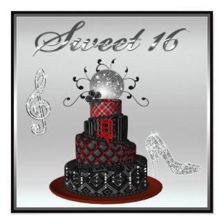 "Torta de la diva del disco del dulce 16, talones invitación 5.25"" x 5.25"""