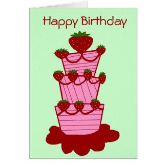 Torta de la fresa, tarjeta del feliz cumpleaños