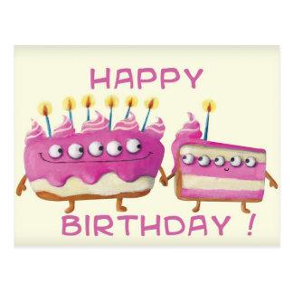 Torta de la fruta del cumpleaños tarjetas postales