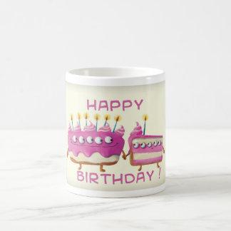 Torta de la fruta del cumpleaños tazas de café
