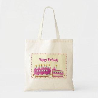 Torta de la fruta del cumpleaños - texto de encarg bolsa tela barata