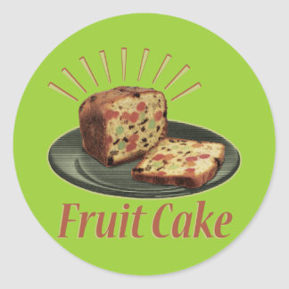 Torta de la fruta del Fruitcake Pegatina Redonda