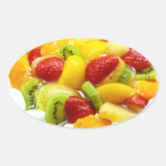 Torta de la fruta pegatina ovalada
