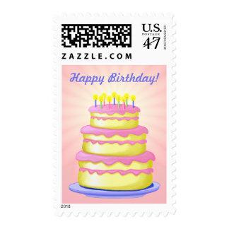 Torta de la grada del feliz cumpleaños 3 sello postal