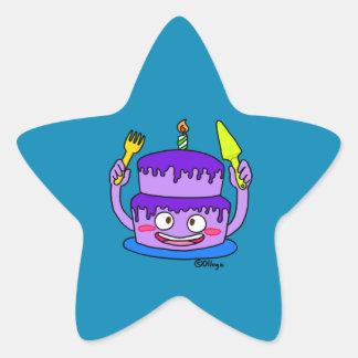 Torta de la mora del cumpleaños pegatina en forma de estrella