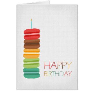 Torta de la pila de Macaron - tarjeta de cumpleaño
