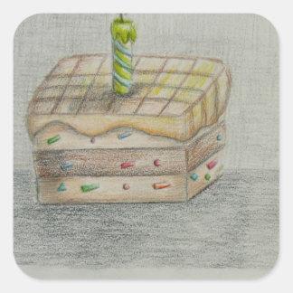torta de la rebanada pegatina cuadrada