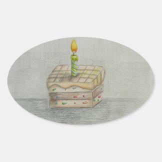 torta de la rebanada pegatina ovalada