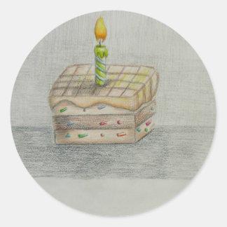 torta de la rebanada pegatina redonda