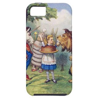 Torta de las ofertas de Alicia al león y al unicor iPhone 5 Case-Mate Protectores