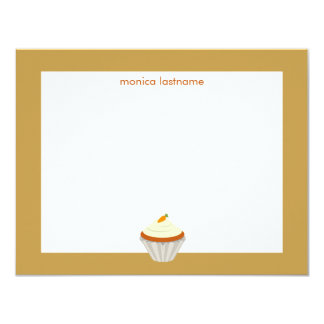 """Torta de zanahoria Notecard plano personalizado Invitación 4.25"""" X 5.5"""""""