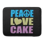 Torta del amor de la paz fundas para macbooks