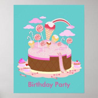 Torta del caramelo y de chocolate para la fiesta póster