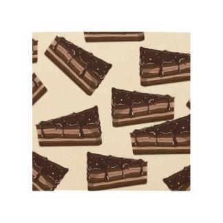 Torta del chocolate con leche cuadros de madera