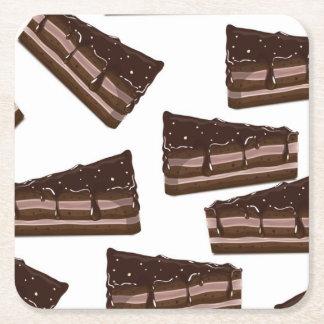 Torta del chocolate con leche posavasos desechable cuadrado