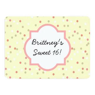 Torta del confeti  • El helar amarillo de Invitación 13,9 X 19,0 Cm