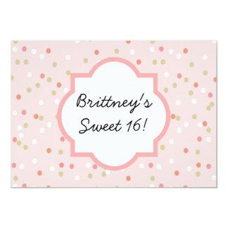 Torta del confeti • El helar rosado de Buttercream Invitación 12,7 X 17,8 Cm
