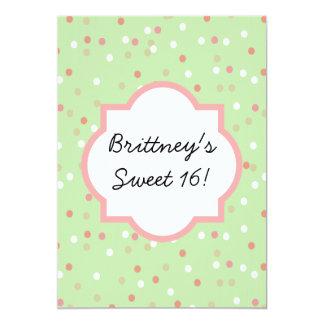 Torta del confeti • El helar verde de Buttercream Invitación 12,7 X 17,8 Cm