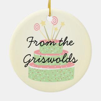 Torta del confeti • Torta de cumpleaños verde Adorno Navideño Redondo De Cerámica