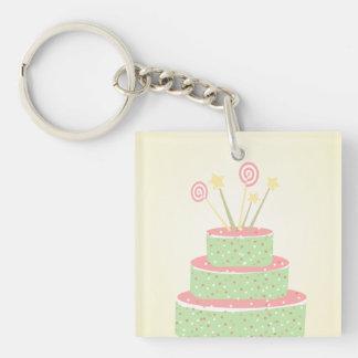 Torta del confeti • Torta de cumpleaños verde Llavero Cuadrado Acrílico A Doble Cara