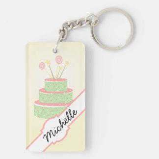 Torta del confeti • Torta de cumpleaños verde Llavero Rectangular Acrílico A Doble Cara