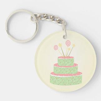 Torta del confeti • Torta de cumpleaños verde Llavero Redondo Acrílico A Doble Cara