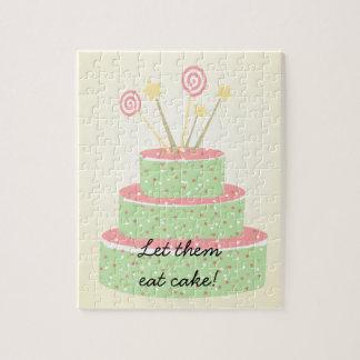 Torta del confeti • Torta de cumpleaños verde Puzzle