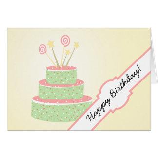 Torta del confeti • Torta de cumpleaños verde Tarjeta De Felicitación