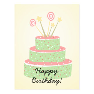 Torta del confeti • Torta de cumpleaños verde Postal