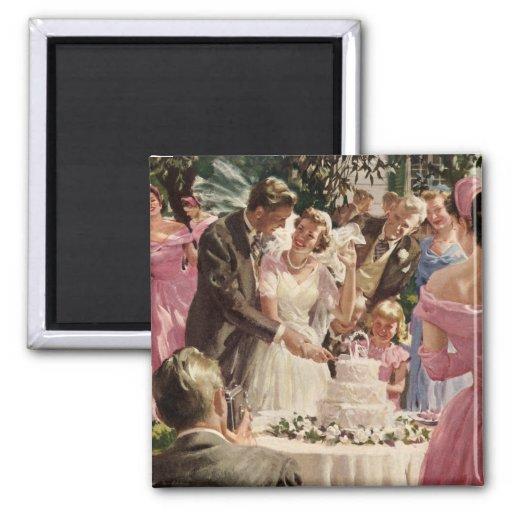 Torta del corte de los recienes casados del novio  iman para frigorífico