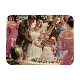 Torta del corte de los recienes casados del novio imanes flexibles