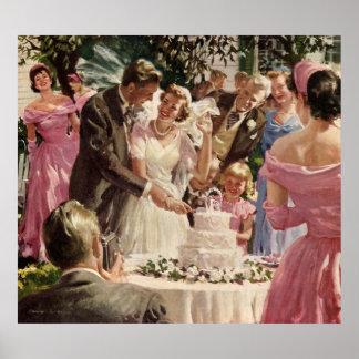 Torta del corte de los recienes casados del novio impresiones