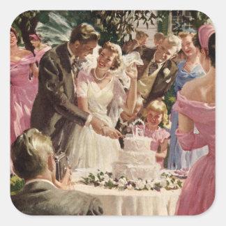 Torta del corte de los recienes casados del novio pegatina cuadradas