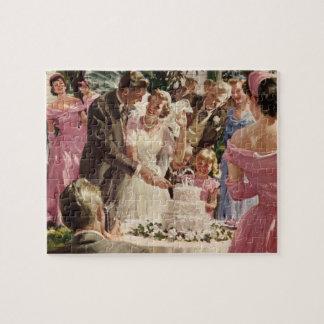 Torta del corte de los recienes casados del novio puzzles
