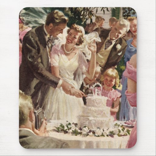 Torta del corte de los recienes casados del novio alfombrilla de ratón