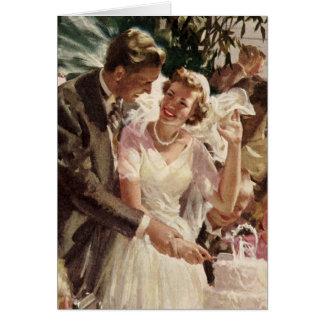 Torta del corte de los recienes casados del novio  tarjetón