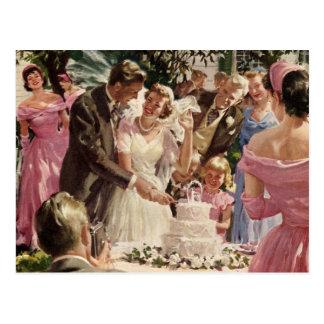 Torta del corte de los recienes casados del novio  tarjetas postales