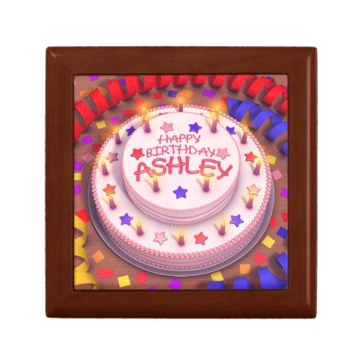 Torta del cumpleaños de Ashley Joyero Cuadrado Pequeño