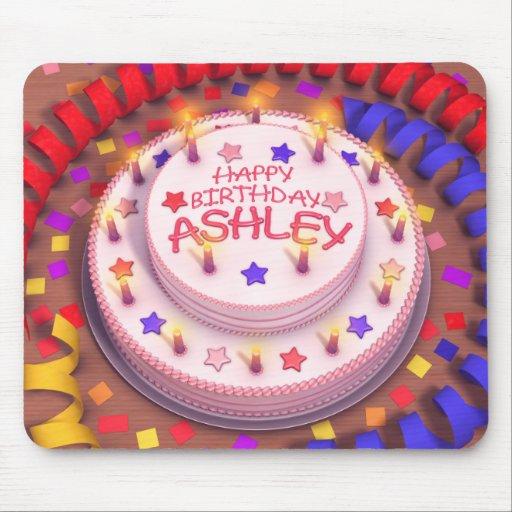 Torta del cumpleaños de Ashley Alfombrillas De Ratones