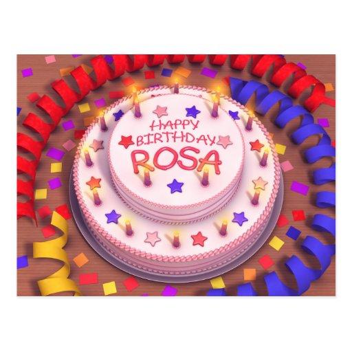 Torta del cumpleaños de Rosa Tarjeta Postal