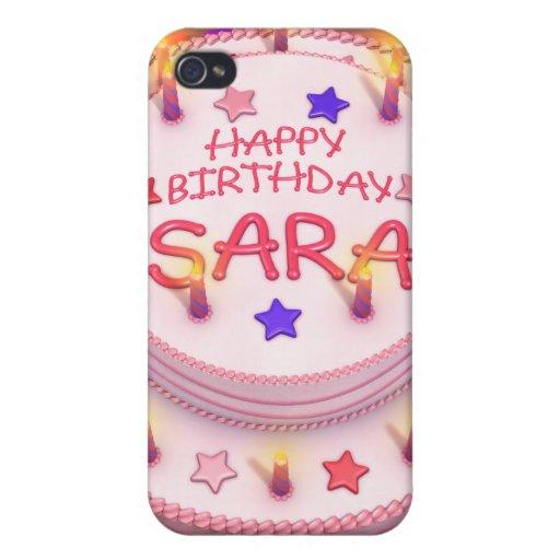 Torta del cumpleaños de Sara iPhone 4 Carcasa
