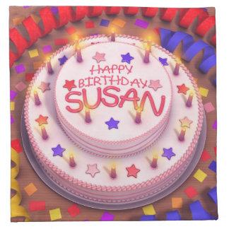 Torta del cumpleaños de Susan Servilletas Imprimidas