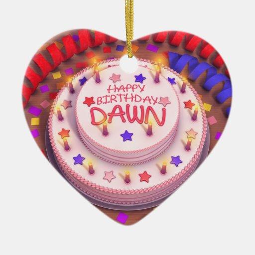 Torta del cumpleaños del amanecer adorno de cerámica en forma de corazón