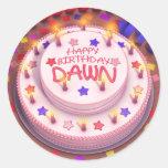 Torta del cumpleaños del amanecer pegatina redonda