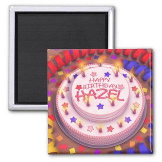 Torta del cumpleaños del avellano imanes de nevera
