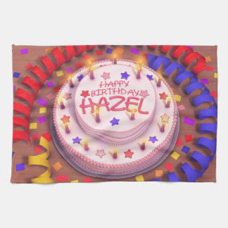 Torta del cumpleaños del avellano toalla de cocina